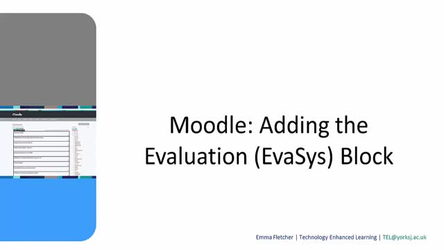 Moodle: Adding the EvaSys Evaluation Block