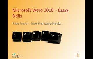 Essay Skills - Inserting page breaks
