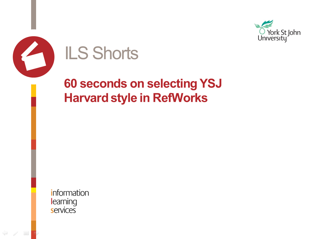 60 seconds on selecting YSJ Harvard style in RefWorks