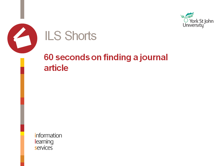 60 seconds on finding journal articles