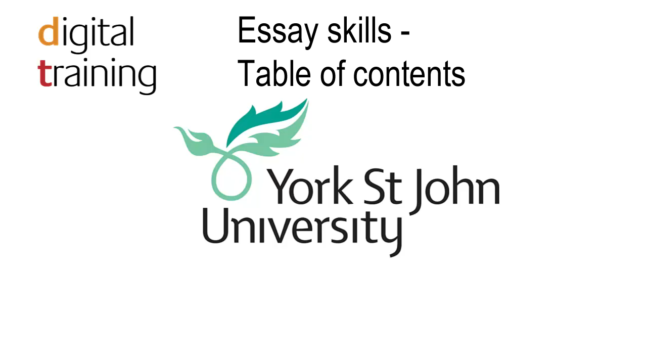 ysj media library essay skills table of contents